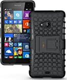 Heartly Flip Kick Stand Spider Hard Dual Rugged Armor Hybrid Bumper Back Case Cover For Microsoft Nokia Lumia 535 Dual Sim - Rugged Black