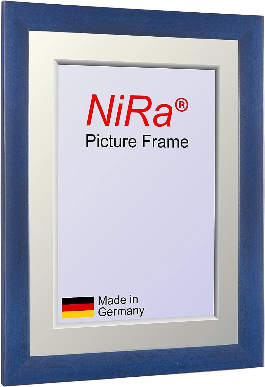 NiRa35-Top Cornice per Foto e Poster 10x10 cm in Colore Blu Chiaro Lavato con Vetro Acrilico Riflettente