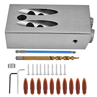 Tasche Bohrschablone Loch Jig Lochsäge Bohrer Kit Holzbearbeitung Joint Tool Neu