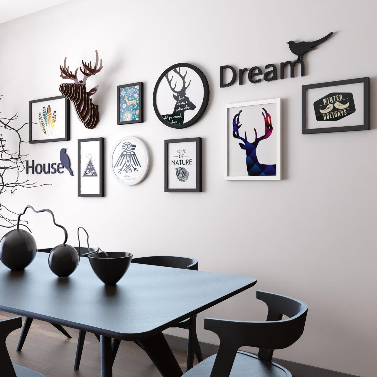 Nwn ホームデコラティブペインティングフォトウォール、リビングルームベッドルームフォトフレームコンビネーション、ブラックホワイトアートクリエイティブ壁画 ブラック 5698845  ブラック&ホワイト B07JP4JDTX