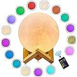 月のランプ GDREAMT 12センチ 3DプリントLED月ライト RGB16色切替え月のランプ 母の日 父の日 バレンタインデー、などの祝日にプレゼントとしてお勧め、USB充電 無段階調光 タッチスイッチ調光 日本語取扱説明書付