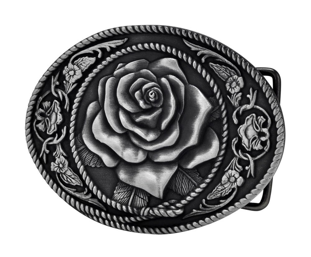 Buckle Rage Adult Womens Western Vintage Rose Ornate Rope Belt Buckle Silver BLT-461