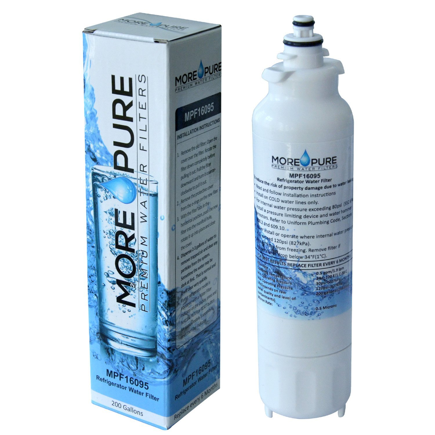 MORE Pure MPF16095 Refrigerator Water Filter Compatible with LG LT800P and Kenmore 46-9460 by MORE Pure Filters (Image #5)
