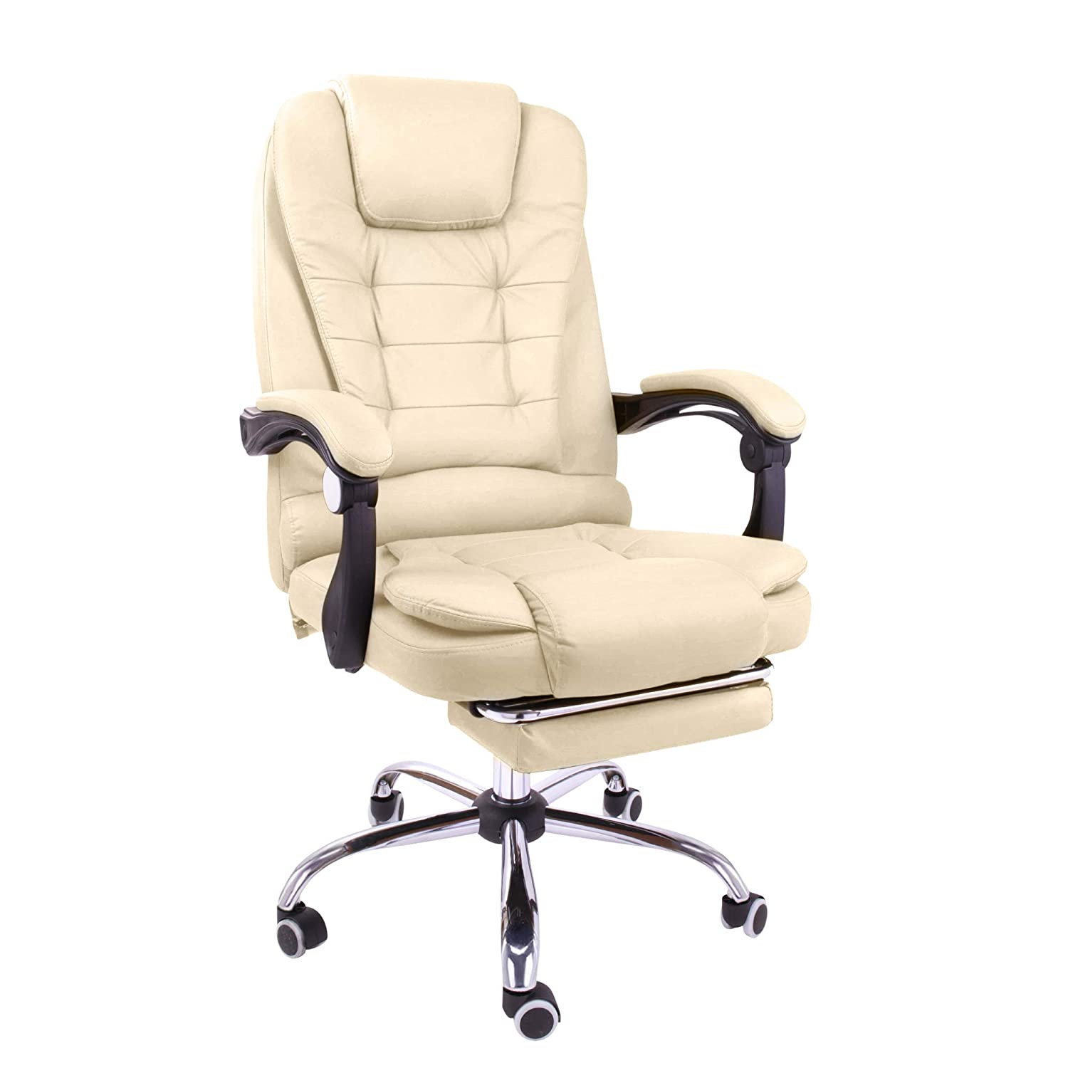 Halter Reclining Leather Office Chair - Modern Executive Adjustable Rolling Swivel Chair Headrest with Retractable Footrest (White)