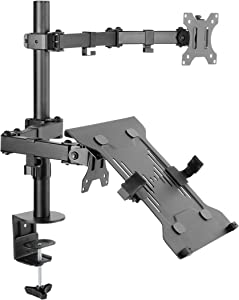 Articulating Single Arm LED/LCD Monitor Desk Mount with Laptop Holder Black Holds 13 to 32 Inches Screen Monitors