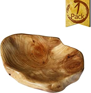 LOL MART Food Storage Root Carving Natural Wood Crafts Serving Tray (B)