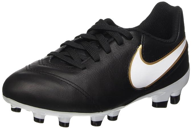 Nike JR Tiempo Legend VI FG, Chaussures de Football Garçon, Argenté/Noir/Orange (Platine Pur/Noir-Hyper Orange), 36.5 EU