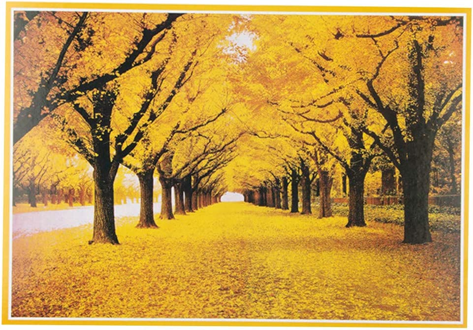 Voberry Puzzles for Adults 1000 Piece, Autumn Golden Yellow Forest Ginkgo Trees Fallen Leaves Fall Deciduous Landscape for Kids Adult Educational Toys DIY Intellectual Game (Multicolor)