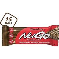 NuGo Protein Bar, Chocolate, 11g Protein, 170 Calories, Gluten Free, 15 Count