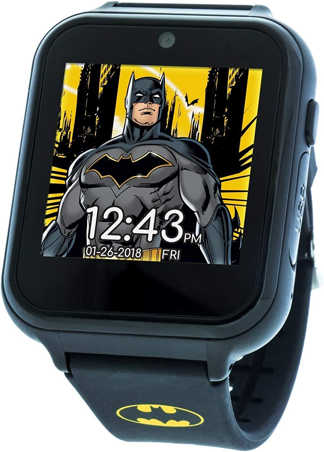 DC Comics Touch-Screen Watch with Silicone Strap, Black, 19.3 (Model: BAT4740)