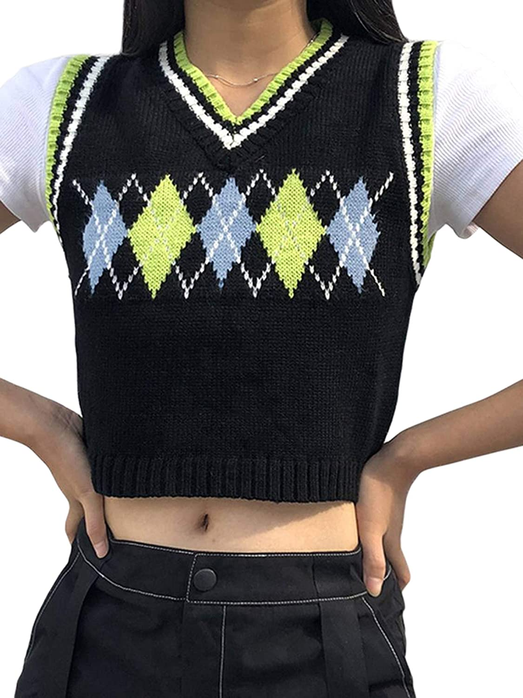 One-Size Argyle Knit Sweater Vest Y2K V-Neck Brown Streetwear  Preppy