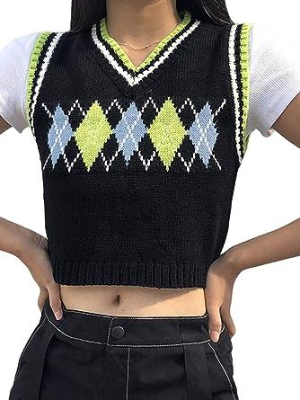 Argyle Sweater Vest Women y2k Plaid Knitted Streetwear Preppy Style V Neck Crop Knitwear Tank Top for Girls