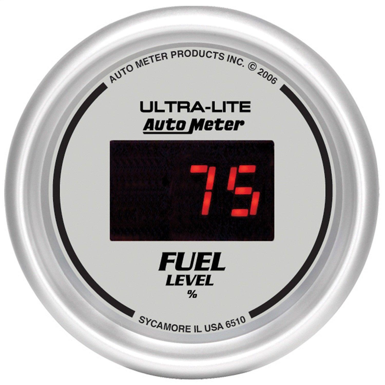 Auto Meter 6510 Ultra-Lite Digital 2-1/16' 0-280 ohm Digital Fuel Level Programmable Empty - Full Range Gauge