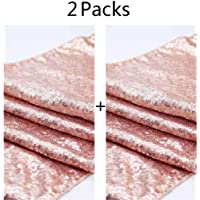 2pcs 30x275cm Sequin Table Runner Rose Gold Sparkly