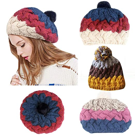 94eb432c64 Amazon.com  Womens Multi Color Patchwork Baggy Warm Wool Knit Beanie  Slouchy Caps Hat Outdoor for Youth Girls  Clothing
