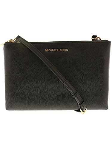 62dc78d0d32d Michael Kors Jet Set Travel Double Zip Gusset Signature Crossbody (Black)