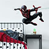 RoomMates Spider-Man Miles Morales Peel And Stick Giant Wall Decals, 1 Sheet 36.5 Inches x 17.25 Inches, Black, Red…