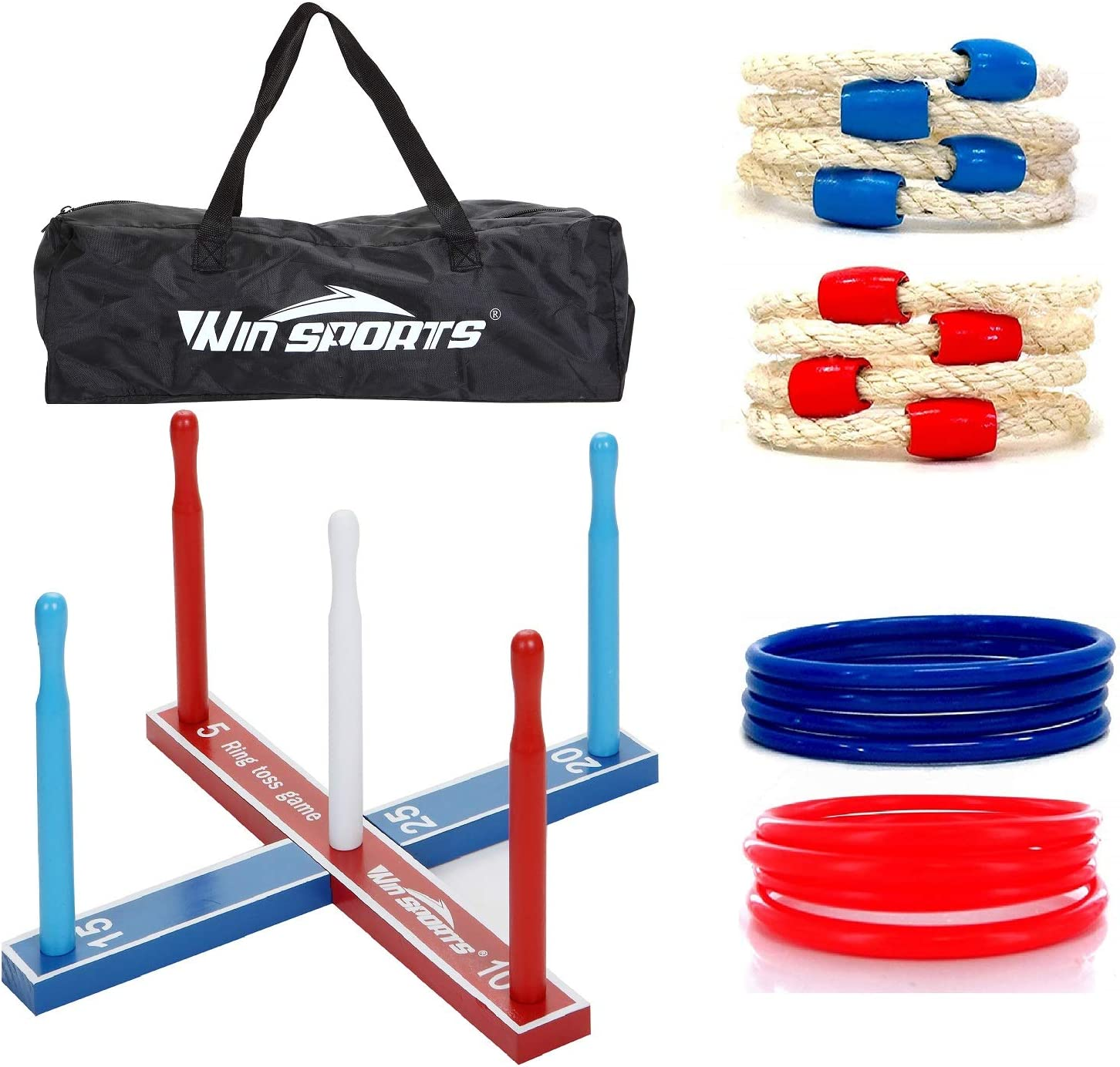 Childrenl Ring Toss Game Set Fun Family Games Ring Throwing Toy Kit for Kids and Adults with 6 Loops and Ring Frame Set