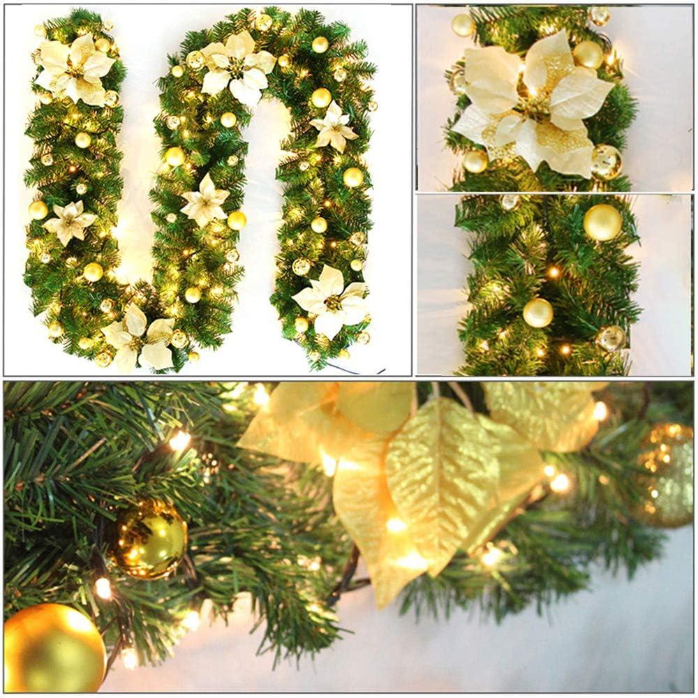 TopHGC Guirnalda de Navidad, 2.7M Chimeneas Escaleras Guirnaldas Decoradas Luces LED Adorno Corona de Navidad para decoración del hogar (Oro): Amazon.es: Hogar