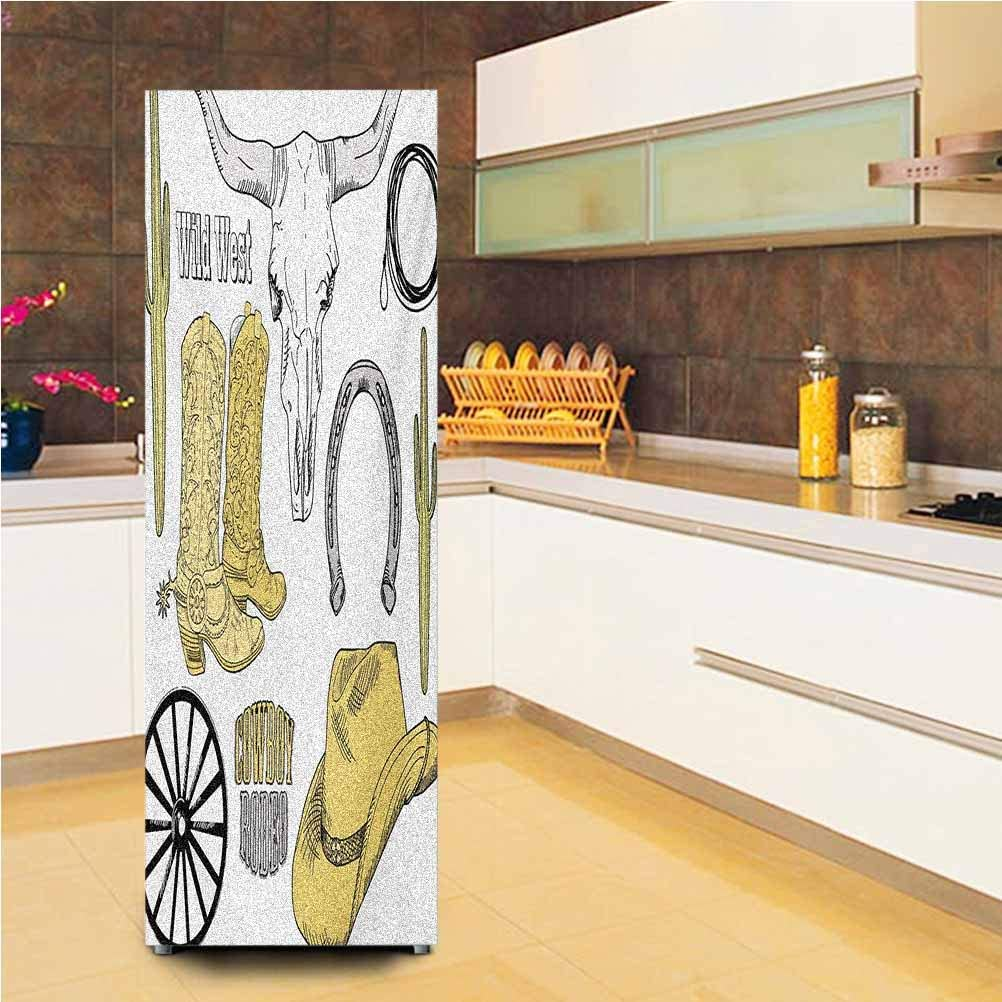 "3D Door Fridge Stickers Wall Mural,Cowboy Rodeo Accessories Skull Lasso Hat Vintage Wheel Horseshoe Vinyl Wallpaper Murals Stickers,24x59"",for Refrigerator,Pale Brown Black Pale Grey"