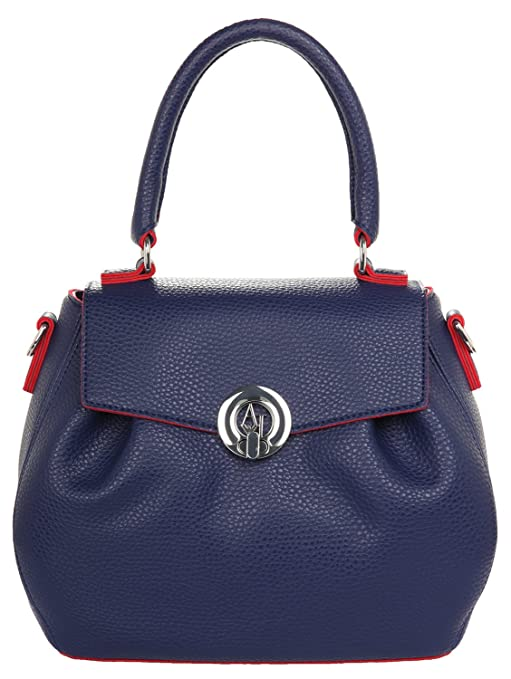 Armani Jeans Borsa Top Handle Donna Pvc Plastica Dark Navy Tango Red ... d2aded2c6aa