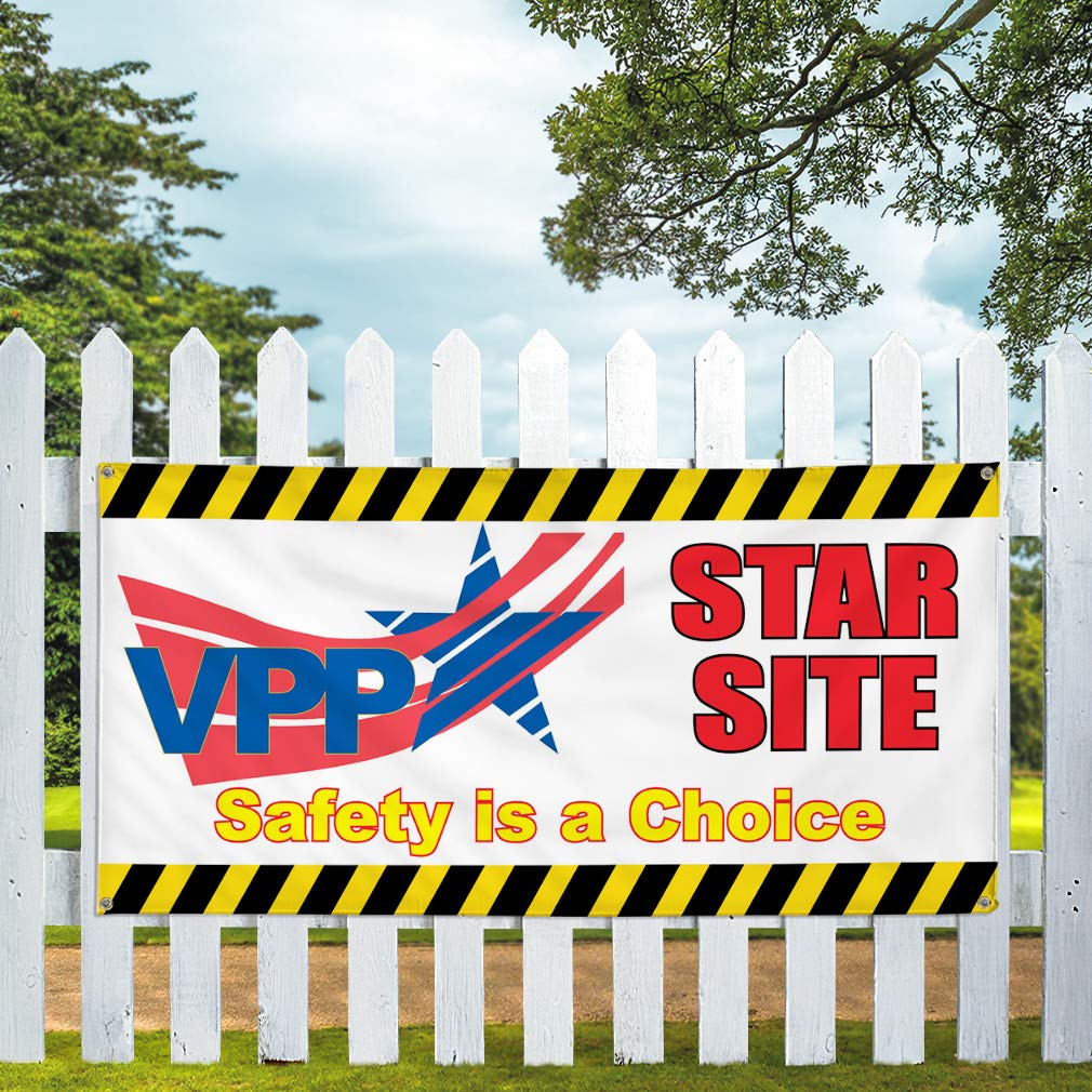 One Banner Multiple Sizes Available 48inx96in Vinyl Banner Sign Vpp Star Site Safety is A Choice #1 Safe Marketing Advertising Red 8 Grommets
