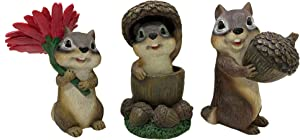 Design House 395897 Indoor/Outdoor 6-inch Summertime Chipmunks Set of 3 Figurines Statues for Garden Patio Home & Office Décor Housewarming Gifting Birthdays
