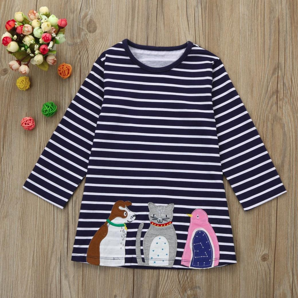 Jarsh Toddler Baby Girls Cute Long Sleeve Stripes Little Dog Animal Printed Clothes Dress
