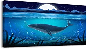 Wall Art for Living Room Decorations - Ocean Theme Mediterranean Style Canvas Prints Framed and Stretched Sea Animal Whale Pictures - Modern Home Large Wall Decor Ready to Hang Artwork 20X40inches