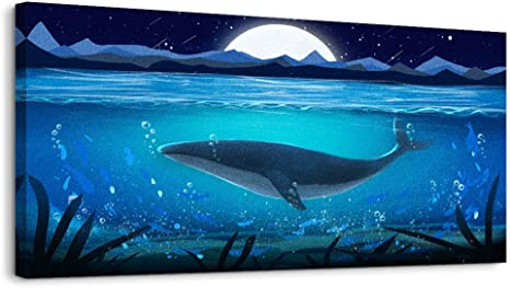 Amazon Com Wall Art For Living Room Decorations Ocean Theme Mediterranean Style Canvas Prints Framed And Stretched Sea Animal Whale Pictures Modern Home Large Wall Decor Ready To Hang Artwork 20x40inches