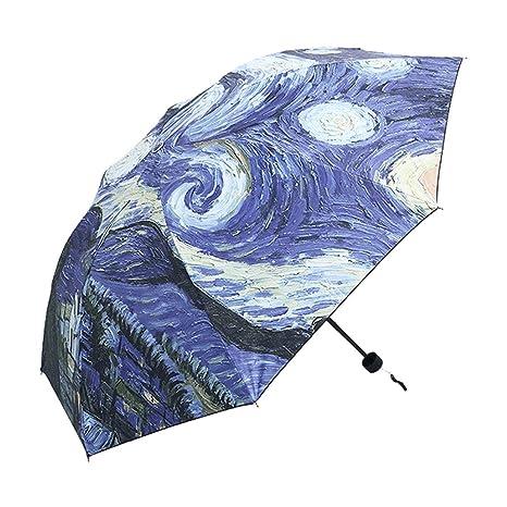 Funnyrunstore 2017 Paraguas con Estilo Van Gogh Pintura al óleo Arts Paraguas Innovador Paraguas para Todo