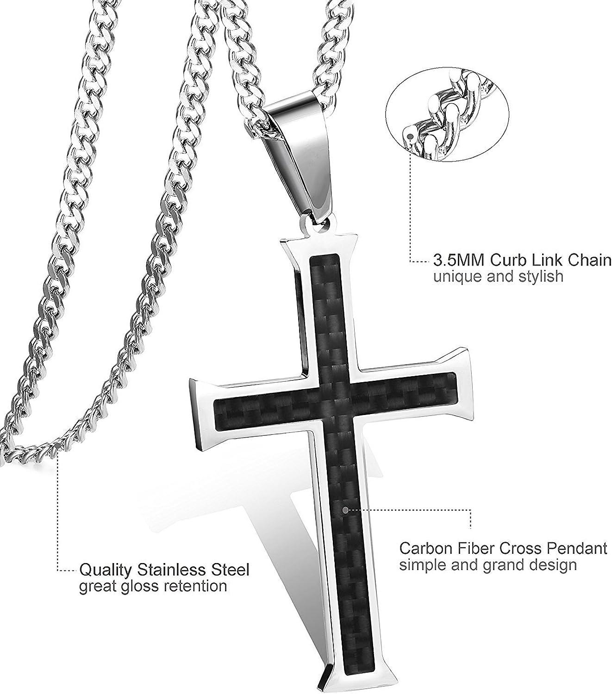 BESTEEL Acier Inoxydable Collier Croix Homme Femme Cha/îne Serpent Pendentif Croix Collier Religieux 61cm