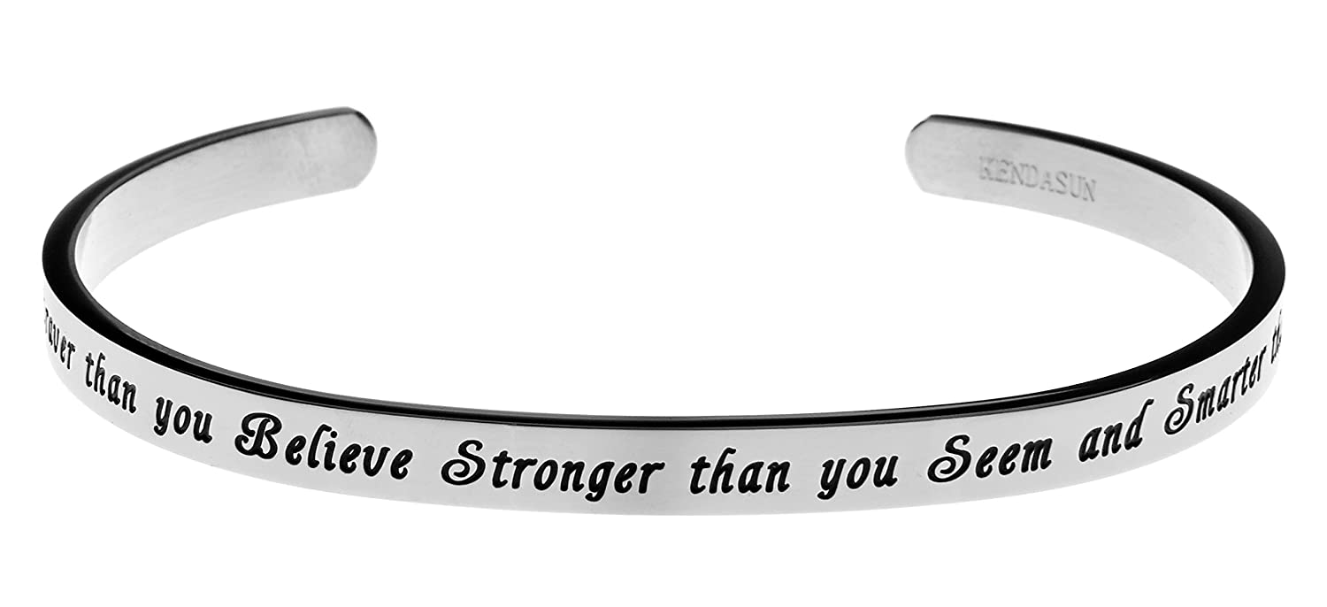 """You Are Braver Than You Believe, Stronger Than You Seem"" Premium Stainless Steel Cuff Bangle Bracelet"