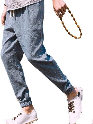 Huntrly Pantalones de Hombre de algodón y Lino, Sueltos, de ...