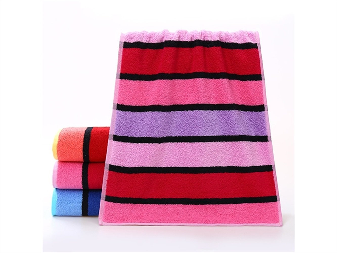 Wesource Activates Stripe Jacquard Adult Thicken Wash Face Towel Absorbent Couple Wiping Towel Householdl(Red)