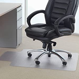 "Lutema Clear PVC Plastic Chair Mat for Carpet or Wood Floors 36"" x 48"" Non-Slip Plastic Mat - Home Office Floor Protection Plastic Mat with Lip - PVC Plastic Mat for Office Chair (1 Pack Gripper Back)"