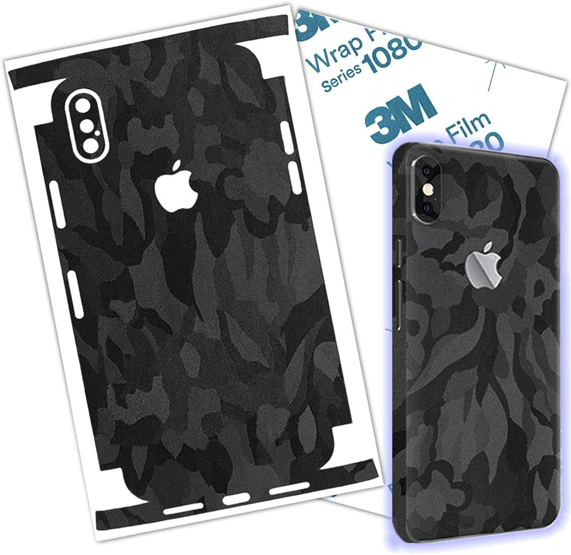 Betxell Camo iPhone Skin Protective 3M Film Wrap Around Edges Cover Black Skin for iPhone 7, 8, 8 Plus, X, Xs, Xs Max (iPhone Xs MAX)