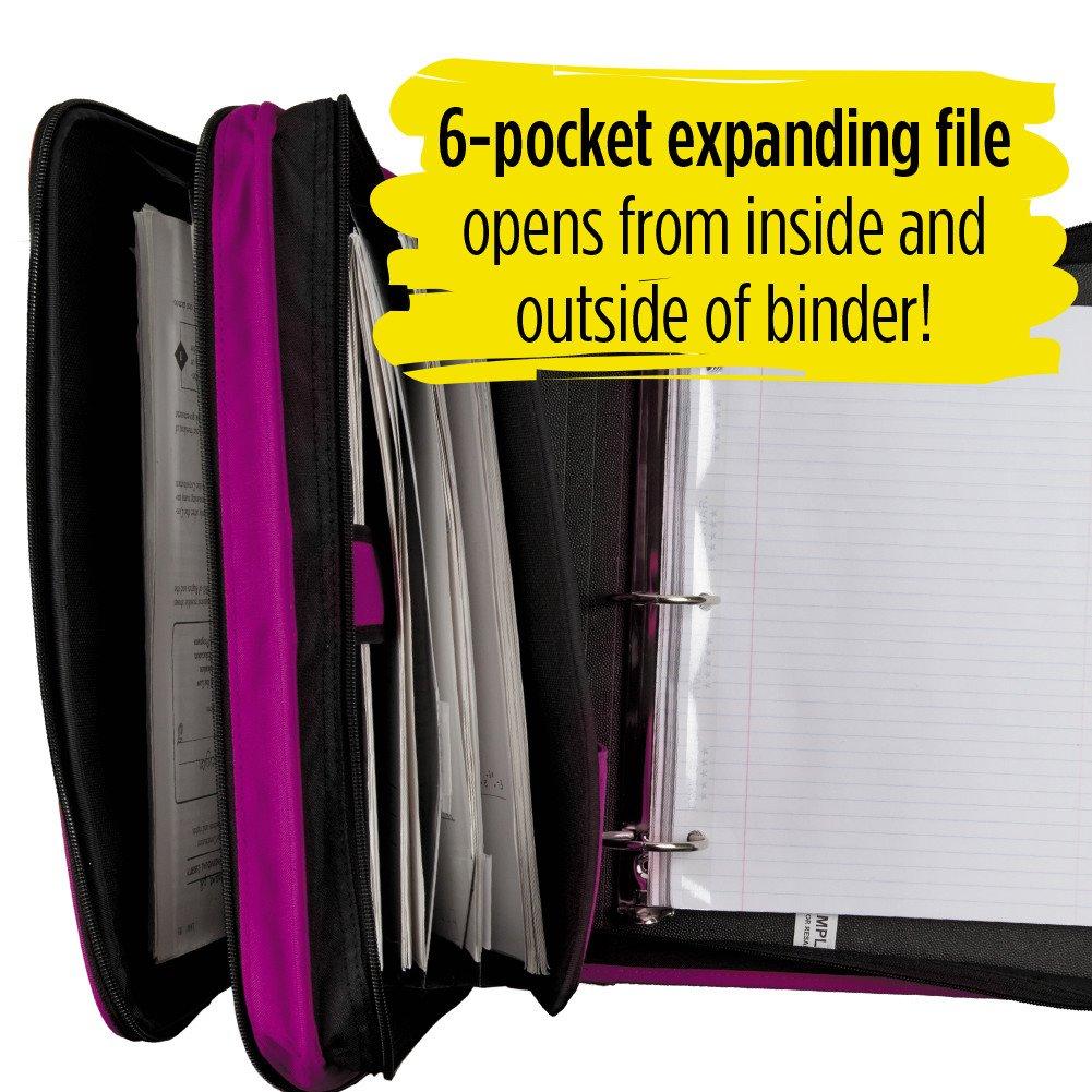 6-Pocket Expanding File 72540 2 Inch 3 Ring Binder Five Star Zipper Binder