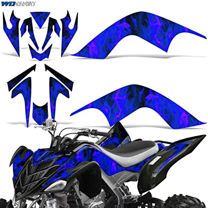Senge Graphics Kit compatible with Yamaha 2006-2008 Raptor 700 Zany Blue Graphics Kit with blank number plates