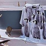 Catherine Lansfield 70 x 120 cm Cotton Velour Penguin Colony Bath, Set of 1, Multi-Colour
