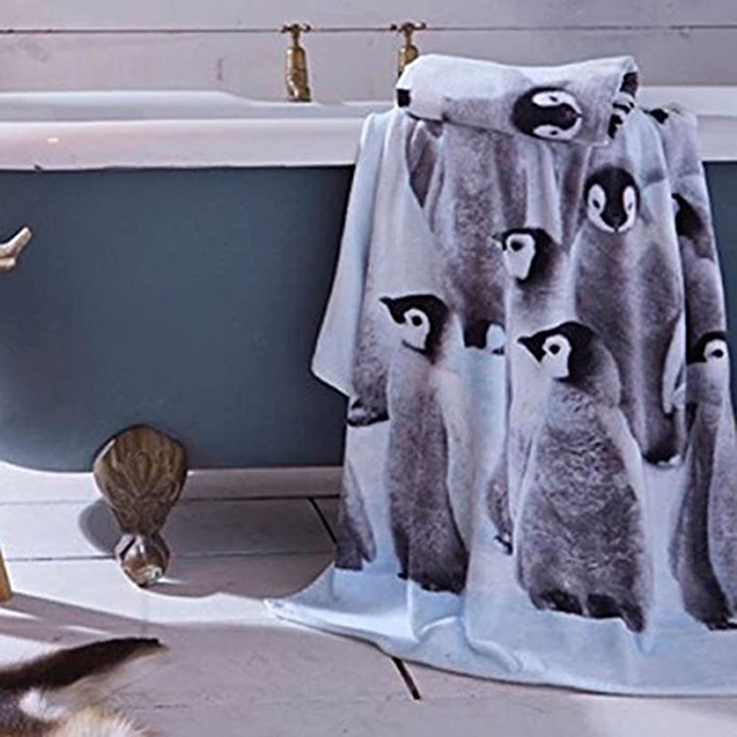 Catherine Lansfield Penguin Colony Cotton Bath Towel Multi Turner Bianca TWB3-6674-WBT-Mult