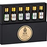 BJR Essentials Therapeutic Grade Aromatherapy Essential Oils Set, 6 x 10 ml Bottles Of Pure And High Quality Oils With Essential Oils Guide, Lavender, Frankinsence, Sweet Orange, Lemongrass, Peppermint, Eucalyptus