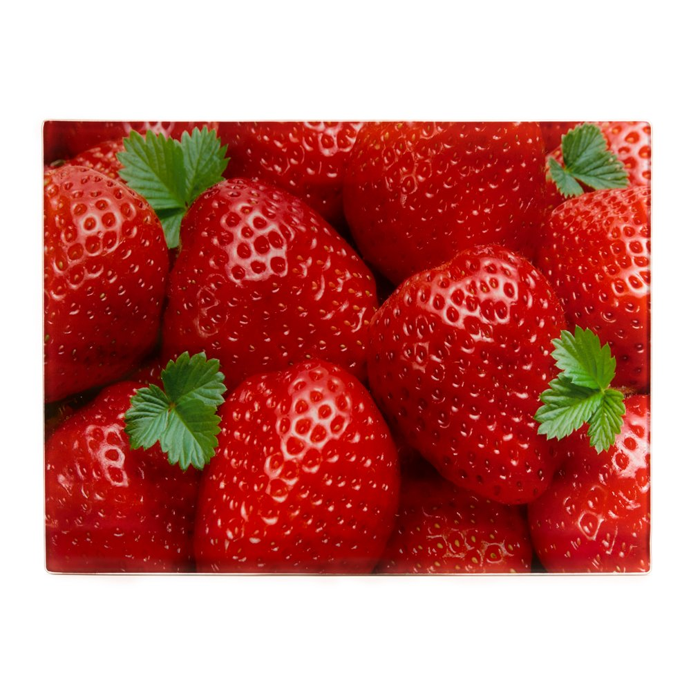Glass Cutting Board For Kitchen - Counter Saver and Serving Tray, 16 x 12 inches - these Boards have a Strawberries Design