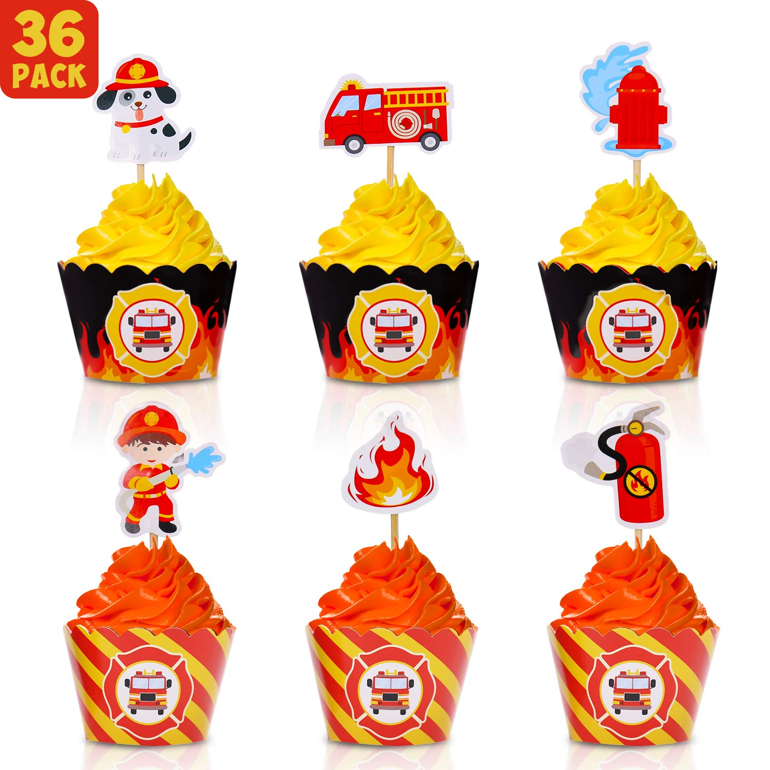 Bessmoso 36 Pack Fire Truck Cupcake Toppers & Adjustable Cupcake Wrappers Pefect for Baby Shower or Firefighter Fireman Fire Truck Theme Birthday Party Decorations Supplies