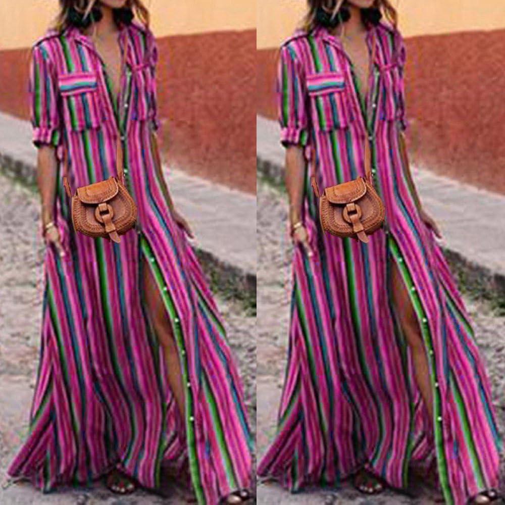 Chanyuhui Women Dresses Lady Bohe Stripe Button Down Polo Half Sleeve Evening Party Long Maxi Dress