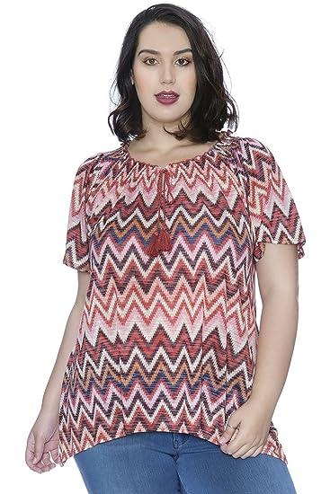 8574722656f15 Plus Size Chevron Tassel Top at Amazon Women s Clothing store