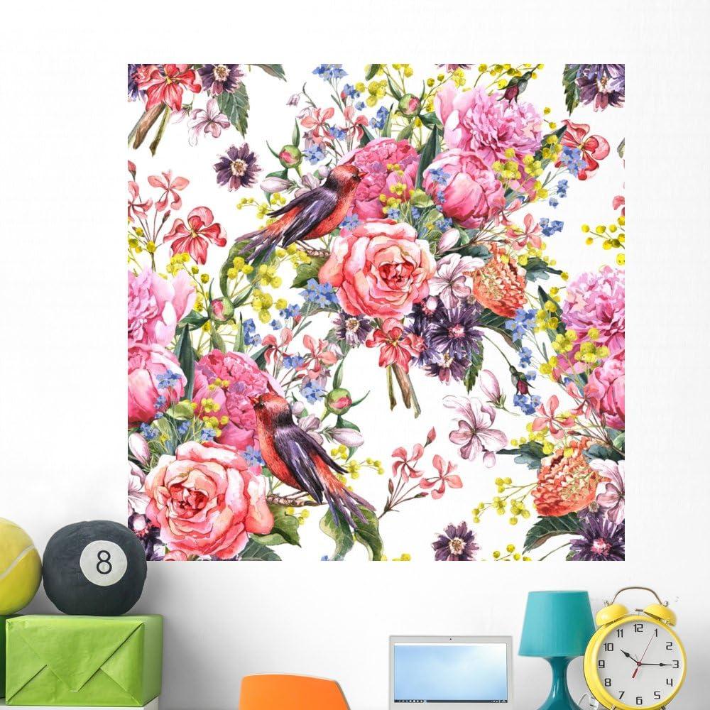 Amazon Com Wallmonkeys Seamless Floral Watercolor Wallpaper Wall