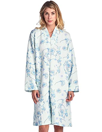 Casual Nights Women\'s Floral Quilted Long Sleeve Zip Up House Dress ...
