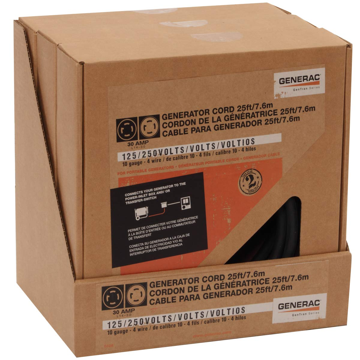 Generac 6328 25 Foot 30 Amp Generator Cord With Nema L14 Wiring Power Inlet Box Ends For Maximum 7500 Watt Generators Garden Outdoor