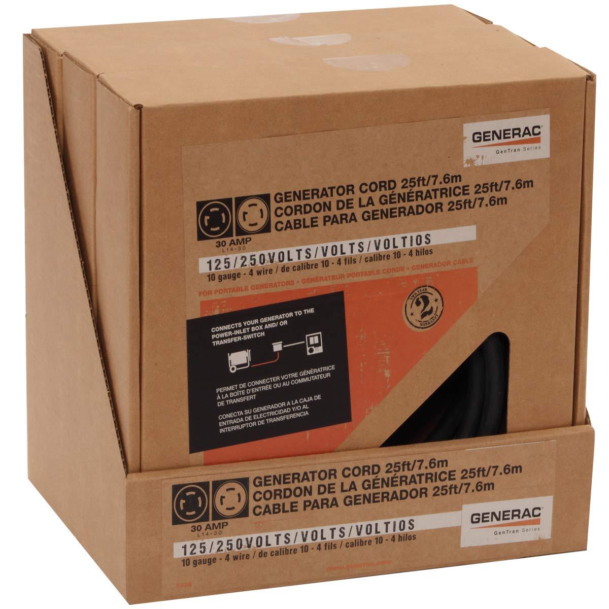 Generac 6328 25-Foot 30-Amp Generator Cord with NEMA L14-30 Ends for Maximum 7,500 Watt Generators